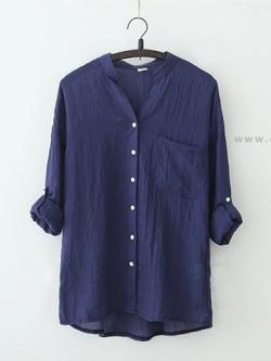 เสื้อเชิ้ตผ้าฝ้ายลินินรุ่น 2 สีกรมท่า(Drak Blue)