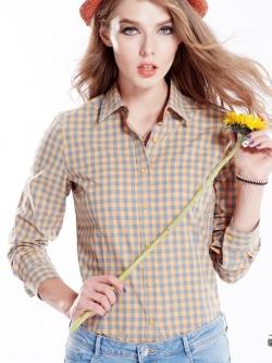 เสื้อเชิ้ตลายสก๊อตเล็กรุ่น 2 สีส้มฟ้า(Orange-Blue)