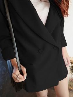 เสื้อสูทกระดุมสองแถว สีดำ(Black)