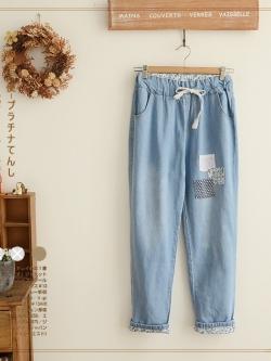 กางเกงยีนส์ขายาวสม้อคเอวยางยืด พร้อมเชือกรูด