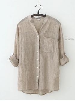 เสื้อเชิ้ตผ้าฝ้ายลินินรุ่น 2 สีน้ำตาล(Brown)