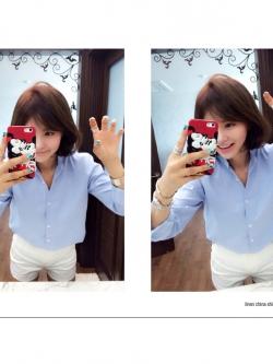 เสื้อเชิ้ตผ้าฝ้าย คอจีน imvely made สีฟ้า(Blue)