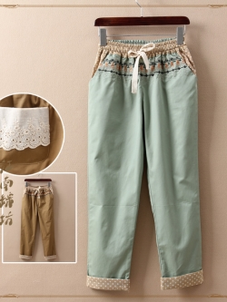 กางเกงเอวยืด พร้อมเชือก งานปักลายโบฮิเมี่ยน กระเป๋าหลังแต่ลูกไม้