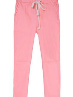 กางเกงฮาเร็ม เอวมีเชือกปรับระดับได้ สีชมพู(Pink)