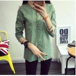 เสื้อเชิ้ตลายจุดปกน้ำตาล สีเขียว Size S