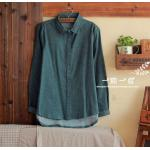 เสื้อเชิ้ตผ้าฝ้าย ปก+สาปแขนพิมพ์ลายจุดขาว สีเขียว Free Size