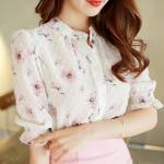 เสื้อเชิ้ตคอจีน ผ้าฉลุทั้งตัว พิมพ์ลายซากุระ แขนยาว 4 ส่วนจั้มระบาย ลายดอกชมพู Size S