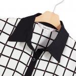 เสื้อเชิ้ตชีฟองลายตาราง สีดำ Size XS