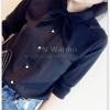 เสื้อเชิ้ตชีฟอง งานสีพื้น ปกเก๋สอดเป็นโบ แมทกับอะไรก็สวยฟรุ๊งฟริ๊ง สีดำ(Black)