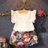 ชุดเสื้อเสื้อคอมุก+กางเกงลายดอกไม้ น่ารักสวยหวานผ้าดีมากคะ 110/120