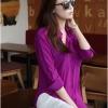 เสื้อเชิ้ตชีฟองแหวกข้างตัว U สีม่วง(Purple)