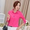 เสื้อเชิ้ตสีพื้นตัวโปรด ปกประดับพลอยเป็นรูปดอกไม้ สีชมพู(Pink)