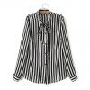 เสื้อเชิ้ตชีฟองลายทาง ปกยาวผูกโบ สีดำ(Black)