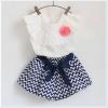 ชุดเสื้อติดดอกไม้+กางเกงลายริ้ว น่ารักสวยหวานผ้าดีมากคะ 100/110