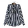 เสื้อเชิ้ตชีฟองลายทาง ปกยาวผูกโบ สีกรมท่า(Dark Blue)
