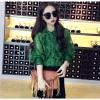 เสื้อเชิ้ตลูกไม้ผสมซีทรู สีเขียว