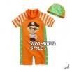 VIVO-BINIYA ชุดว่ายน้าบอดี้สูทโจรสลัดส้ม + หมวก ขนาด130