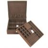 Jewelry Boxes กล่องจัดเก็บเครื่องประดับ 2 ชั้น Size ใหญ่ พร้อมตัวล็อคกุญแจ สีน้ำตาล