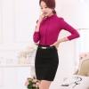 เสื้อเชิ้ตสีพื้นทรงคอจีนพับ แขนพอง สีชมพู(Pink)