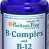 วิตามินบีรวม บำรุงสมองและระบบประสาท ลดอาการอ่อนเพลีย Puritan Vitamin B Complex + Vitamin B-12 90 เม็ด (USA)