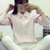 เสื้อเชิ้ต แขนแต่งคาดแถบ 3 สี สีชมพู(Pink)