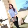 เสื้อเชิ้ตสีพื้นทรงคอจีนพับ แขนพอง สีฟ้า(Blue)