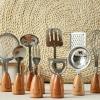 Pre-Order : Japan house zakka smiley wooden handle ชุดอุปกรณ์ทำครัวด้ามไม้ 12 ชิ้น