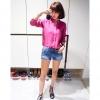 เสื้อเชิ้ตผ้าฝ้าย คอจีน imvely made สีชมพู(Pink)