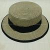 หมวกทรงเค้ก สีน้ำตาลคาดโบว์สีดำ