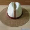 หมวกปีกกว้าง ทรงปานามา สีขาว ปีกสีน้ำตาล คาดเข็มขัด
