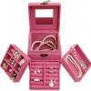 Jewelry Boxes กล่องจัดเก็บเครื่องประดับ 3 ชั้น สีชมพู