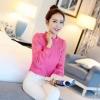 เสื้อคอเต่าระบายอกอัดพลีส สีชมพู(Pink)