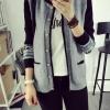 เสื้อคุลมคาดิกันทอลาย กระดุมไม้ สีเทา(Grey)