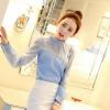 เสื้อคอเต่าระบายอกอัดพลีส สีฟ้า(Blue)