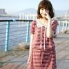 เดรสน่ารักๆลายขวางสีแดงขาวkorean