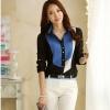 เสื้อเชิ้ตดำแต่งผ้าสีตัดลาย สีน้ำเงิน(Blue)