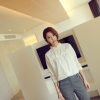 เสื้อเชิ้ตคอ+อกแต่งระบาย สีขาว(White)
