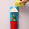 Rainy Pot : กระถางต้นไม้ ที่รดน้ำรูปก้อนเมฆ สีฟ้ากระถางแดง (ในชุดมีปุ๋ย และเมล็ดพืช)