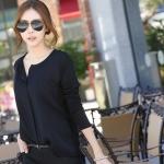เสื้อคอกลมผ่าหน้า สาบหลอก ด้านหน้าผ้าชีฟอง-ด้านหลังคอตตอนยืด สีดำ(Black)