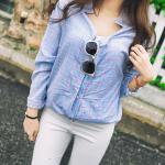 เสื้อเชิ้ตตัวหลวมลายสก๊อตหวานนนน สีฟ้า(Blue)