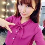 เสื้อเชิ้ตชีฟอง งานสีพื้น ปกเก๋สอดเป็นโบ แมทกับอะไรก็สวยฟรุ๊งฟริ๊ง สีม่วง(Purple)