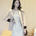 เสื้อสูทสไตล์เกาหลีแขนยาว สีครีม(Cream)