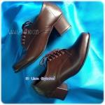 Pretty Popteen PT2405 - รองเท้าหนังน้ำตาล หญิง ส้นสูง