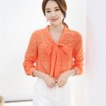 เสื้อปั้มนูนลูกไม้ปกผูกโบว์ สีส้ม(Orange)