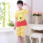 ชุดนอนแขนสั้นสำหรับเด็กลายหมีพูสีเหลือง