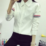 เสื้อเชิ้ต แขนแต่งคาดแถบ 3 สี สีขาว(White)