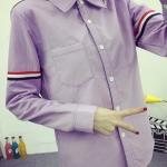 เสื้อเชิ้ต แขนแต่งคาดแถบ 3 สี สีม่วง(Purple)