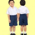 กางเกงนักเรียนอนุบาลตราสมอ สีกรมอ่อน กระดุมหน้าหลัง