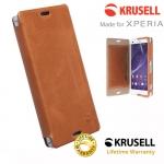 เคสฝาพับหนังแท้ Xperia Z3 Compact ของ Krusell Kiruna Flip Case - สีน้ำตาลคาราเมล