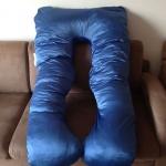 หมอนรองท้อง ผ้าซาตินสีน้ำเงิน